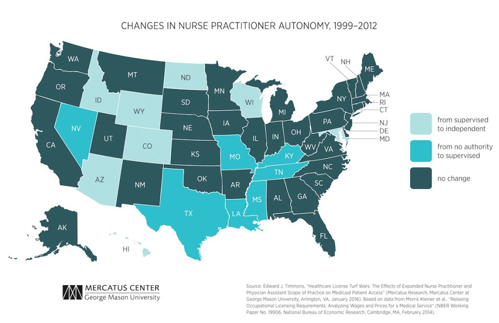 Healthcare License Turf Wars: The Effects Of Expanded Nurse intended for Nurse Practitioner Prescriptive Authority By State Map