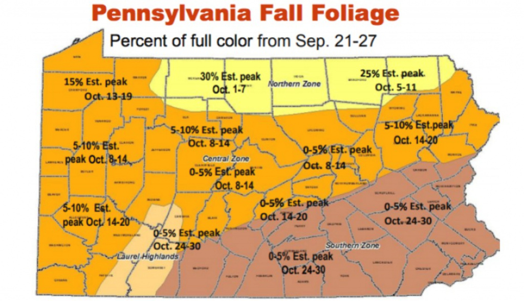 Here's A Map Of When Pennsylvania's Leaves Will Reach Peak Color with regard to New York State Foliage Map