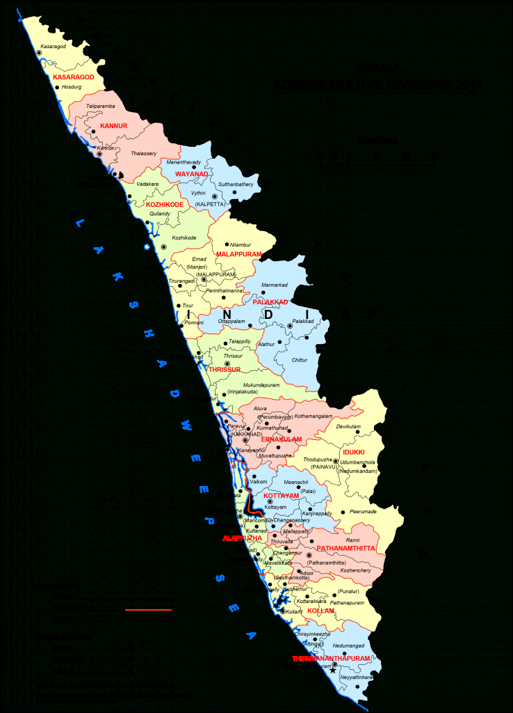 High Resolution Map Of Kerala [Hd] - Bragitoff with Political Map Of Kerala State