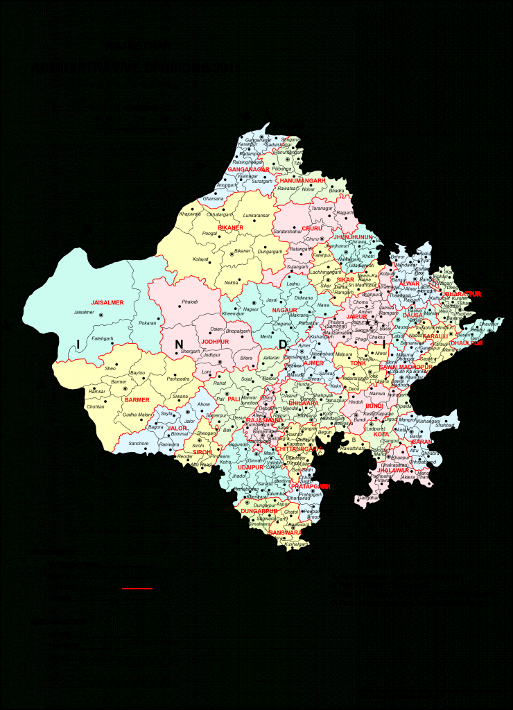 High Resolution Map Of Rajasthan [Hd] - Bragitoff pertaining to Political Map Of Rajasthan State