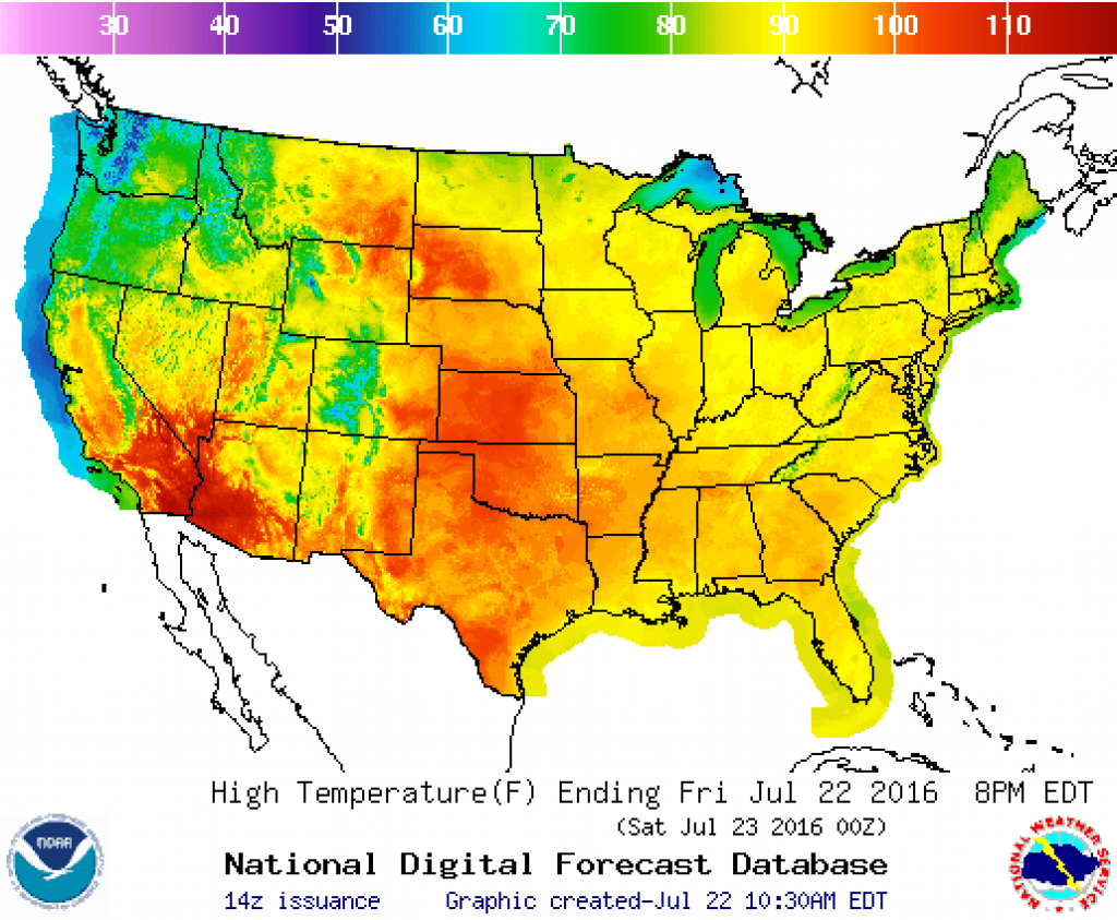 High Temperature Map (From National Weather Service) For Friday with Weather Heat Map United States
