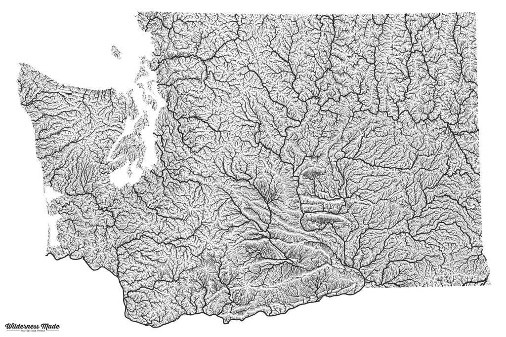 Highly Detailed River Map Of Washington State : Washington within Washington State Rivers Map