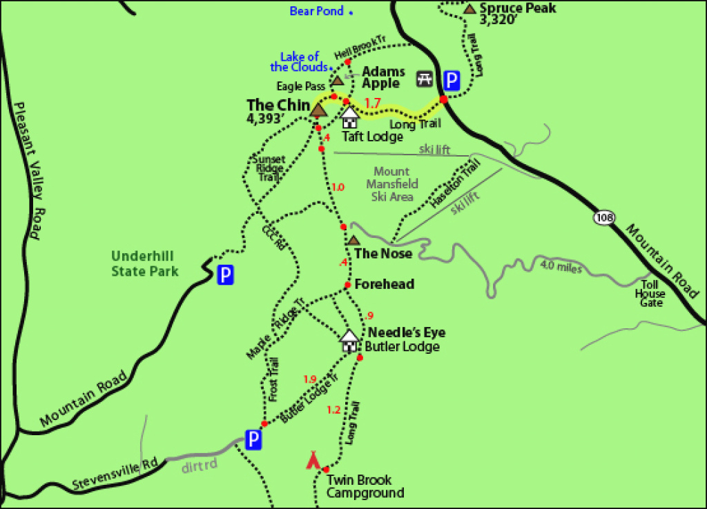 Hike Mount Mansfield Vermont Vt 4,393 4000 Footers New England 4000 intended for Underhill State Park Trail Map