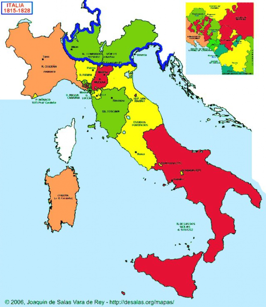Hisatlas - Map Of Italy 1815-1828 with Italian States Map