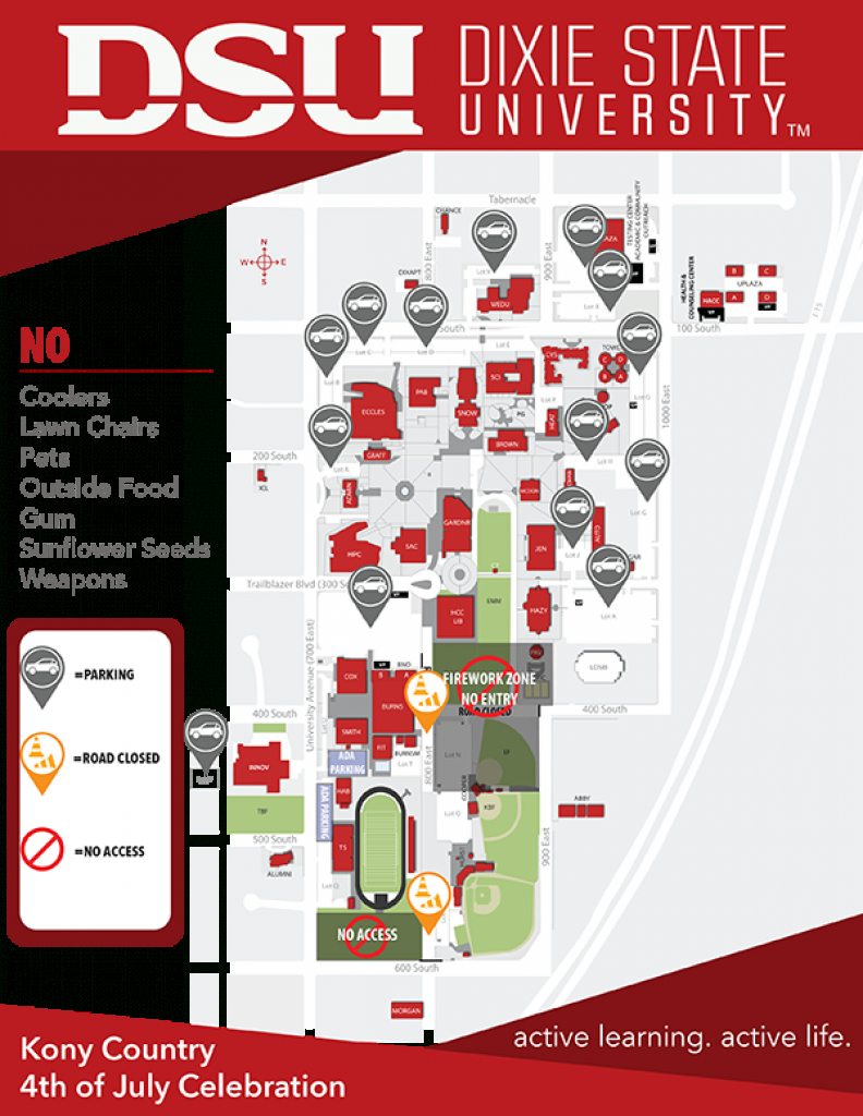 Hiss, Crackle, Bang, Boom! Southern Utah's Largest Fireworks Show To regarding Dixie State Campus Map
