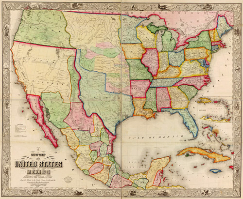 Historical Map Of The United States And Mexico - 1847 with regard to Mexico And The United States Map