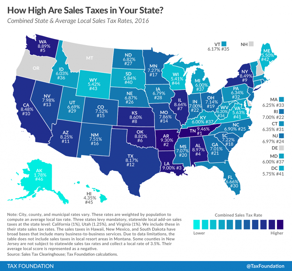 How High Are Sales Taxes In Your State? - Tax Foundation regarding Sales Tax By State Map