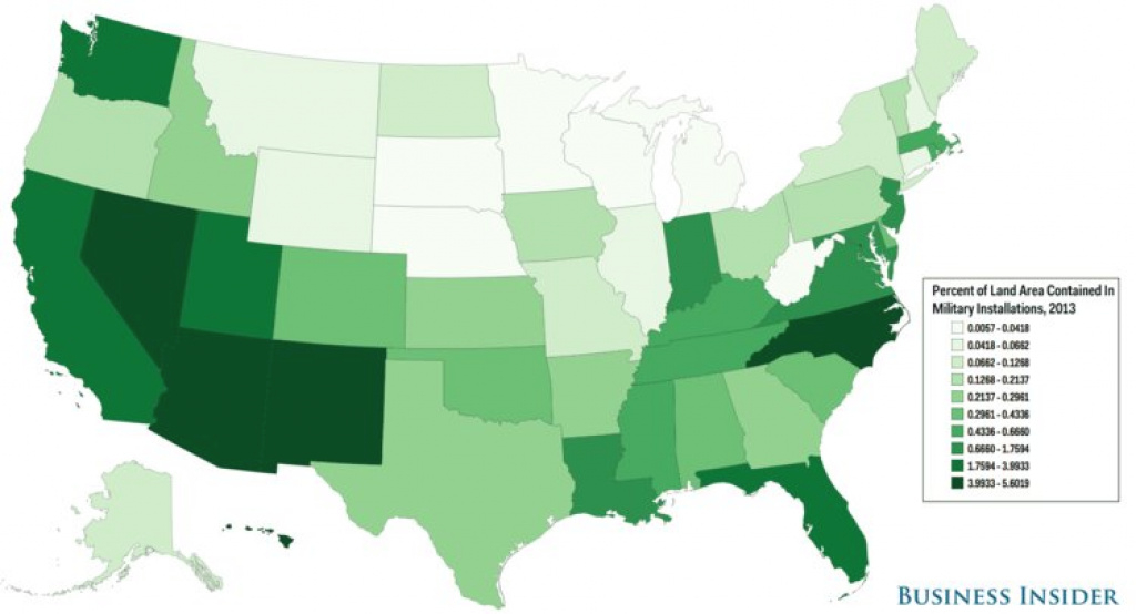 How Much Land Military Bases Take Up In Each State - Business Insider within Military Bases By State Map