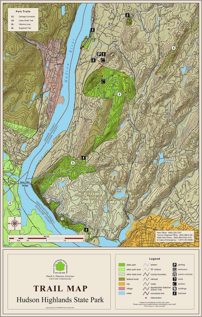 Hudson Highlands State Park - Maplets inside Fahnestock State Park Trail Map
