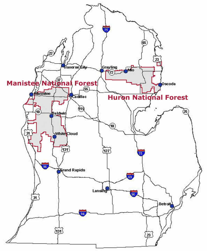Huron-Manistee National Forests - Maps & Publications with Michigan State Forest Map