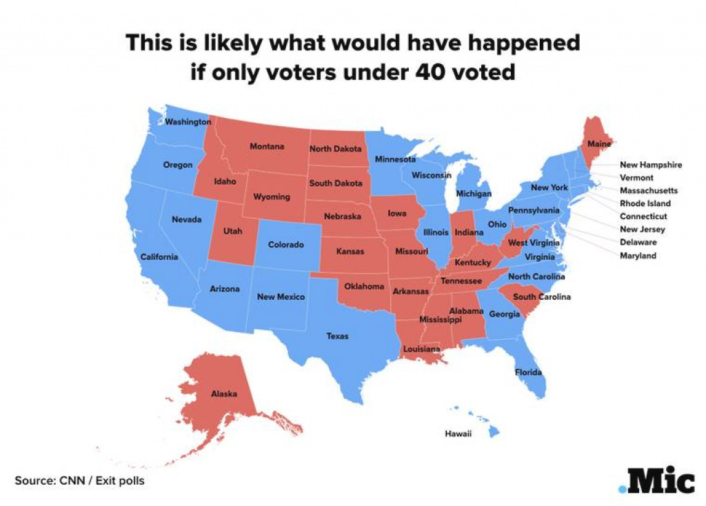If Only People Under 40 Had Voted, Here's How The Electoral College with States Hillary Won Map