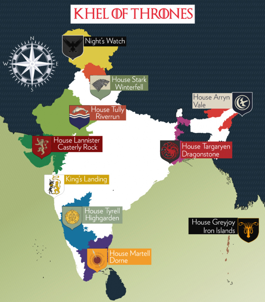 If The Houses From 'game Of Thrones' Were Indian States, This Is intended for States Of India Map Game