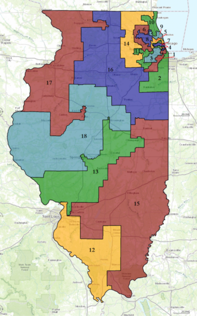 Illinois' Congressional Districts - Wikipedia with Illinois State Senate District Map