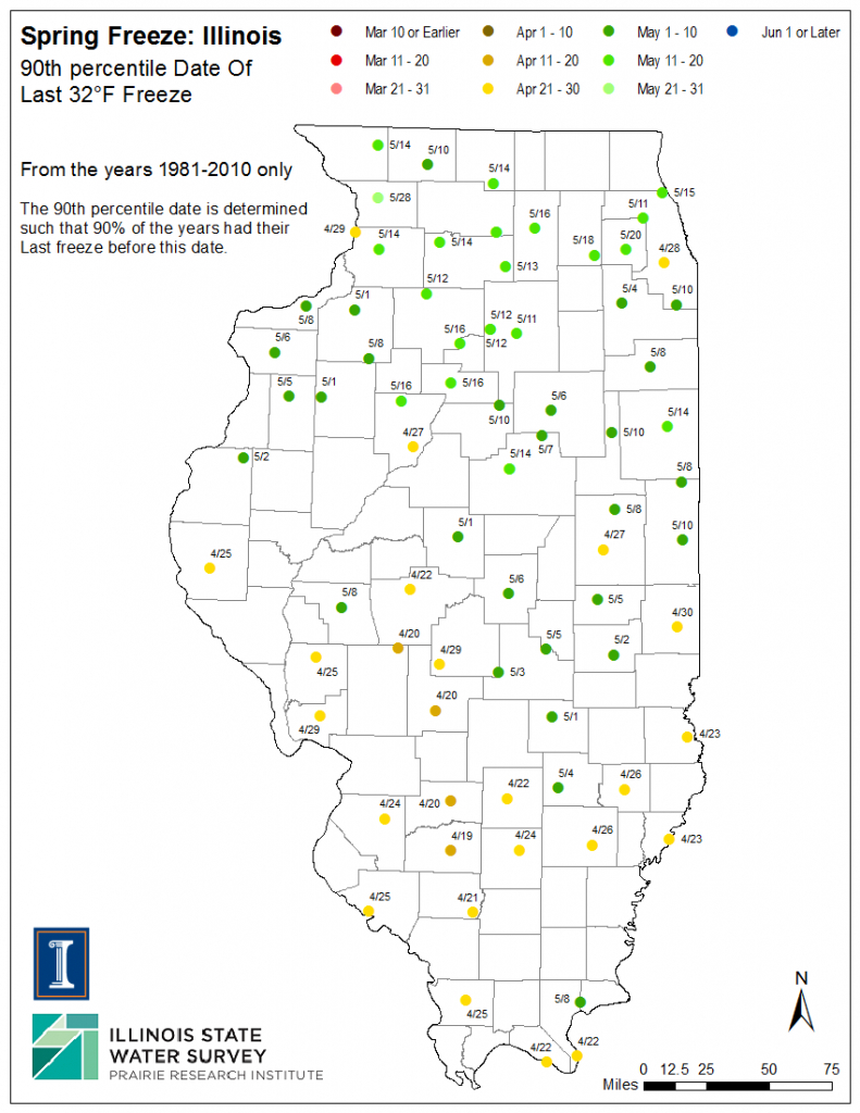 Illinois Frost Dates And Growing Season, Illinois State with Illinois State Parks Map