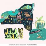 Illustrated Map New York State Usa Stock Vector (Royalty Free Intended For New York State Tourism Map