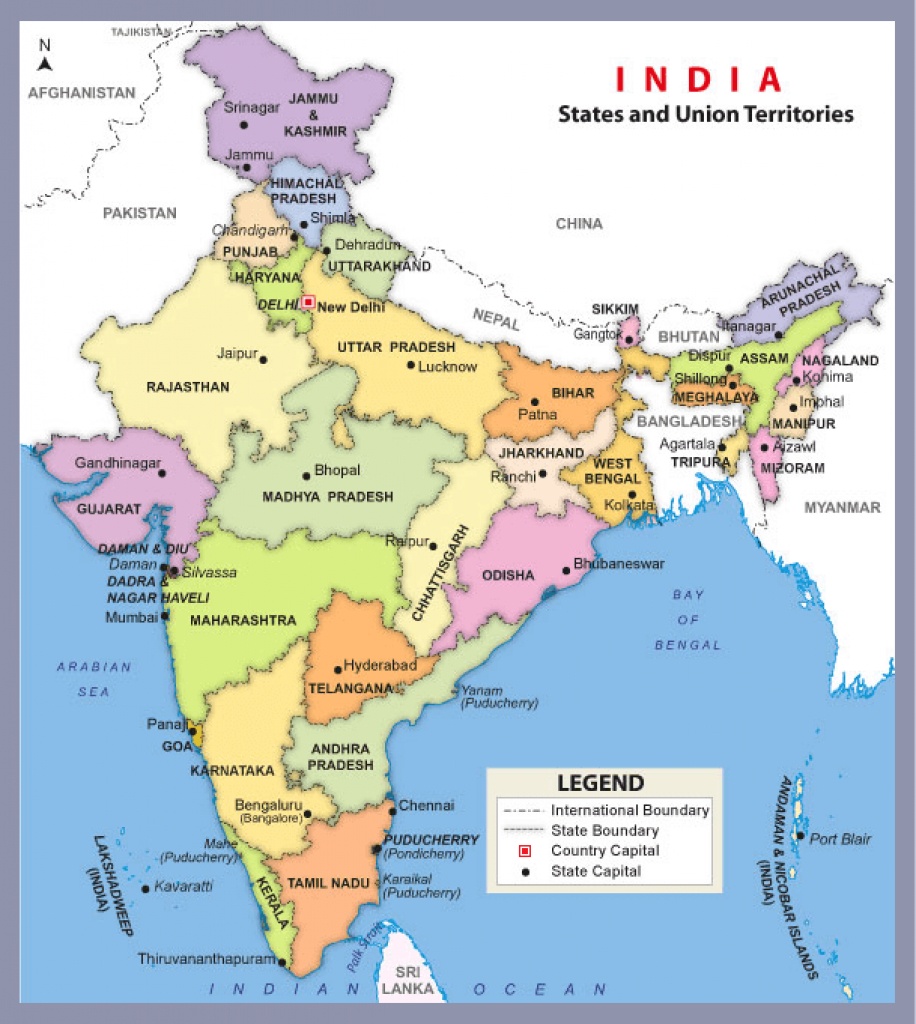 India - Know All About India Including Its History, Geography throughout India Map With States Name In Hindi