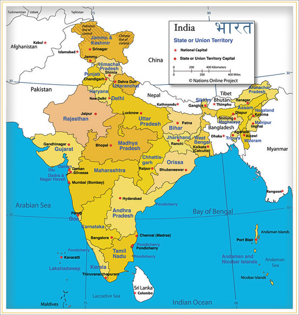India Map Of India's States And Union Territories - Nations Online inside Map Of India With States And Cities