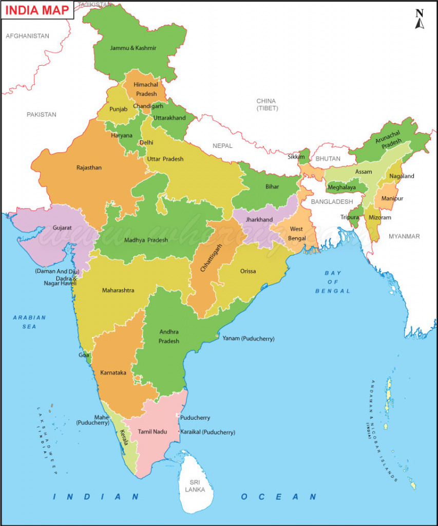 India Map / Political Map Of India / India State Map with regard to State Political Map
