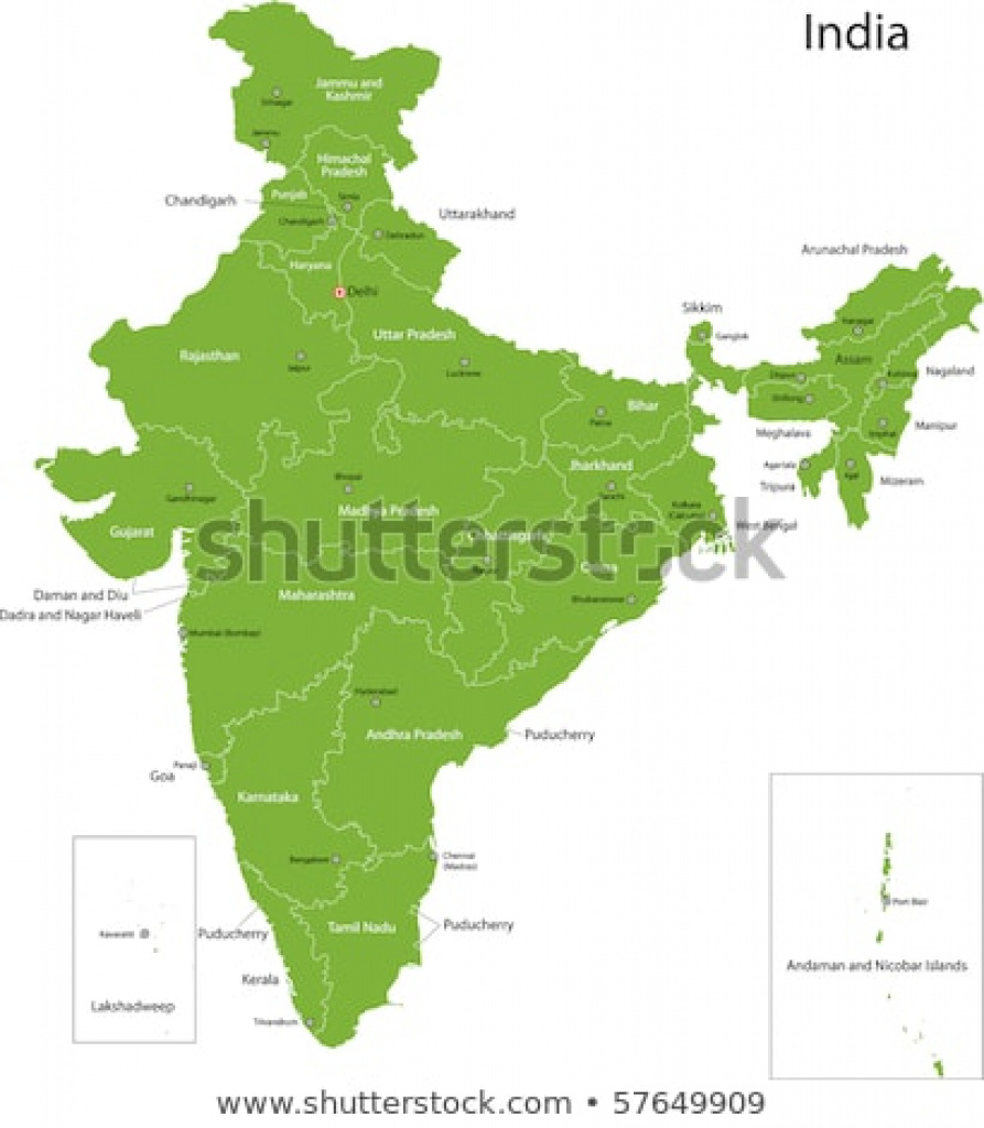 India Map States Capital Cities Stock Illustration 57649909 regarding India Map With States And Capitals