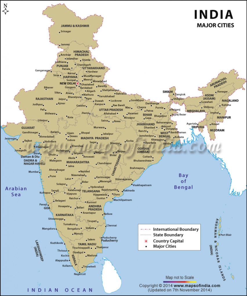 India Map With Cities within Map Of India With States And Cities