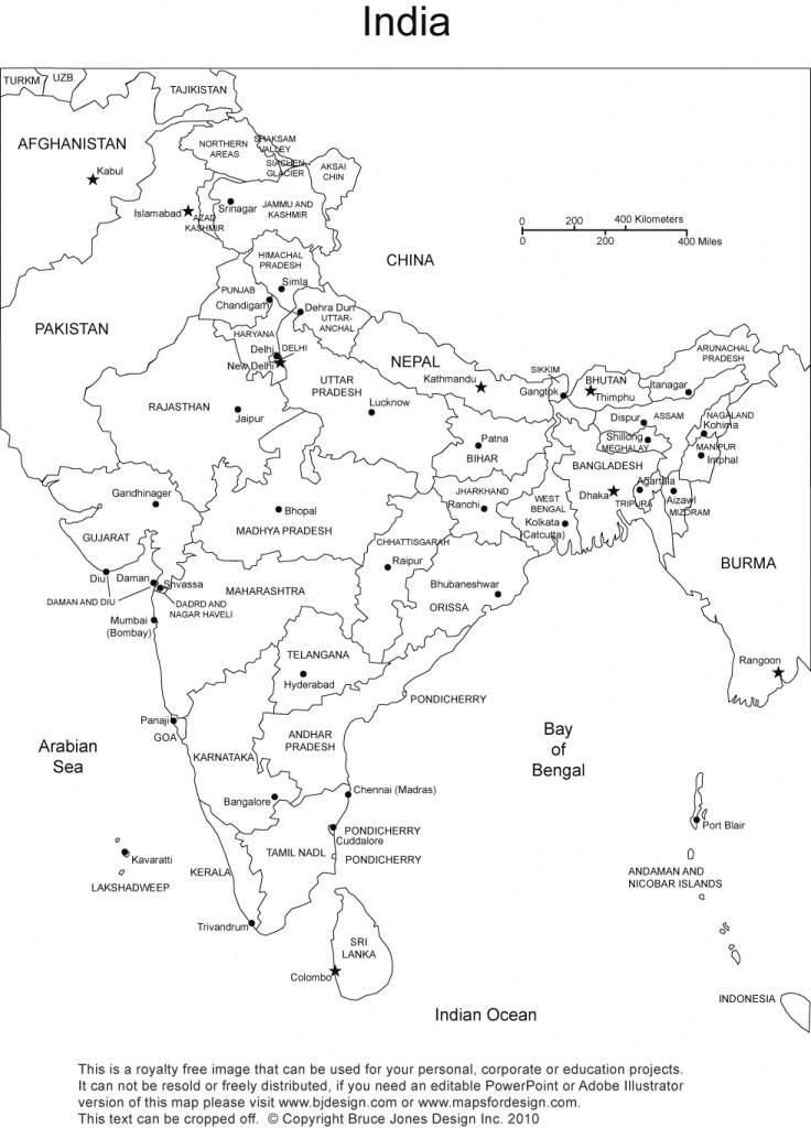 India Printable, Blank Maps, Outline Maps • Royalty Free in India Blank Map With States Pdf
