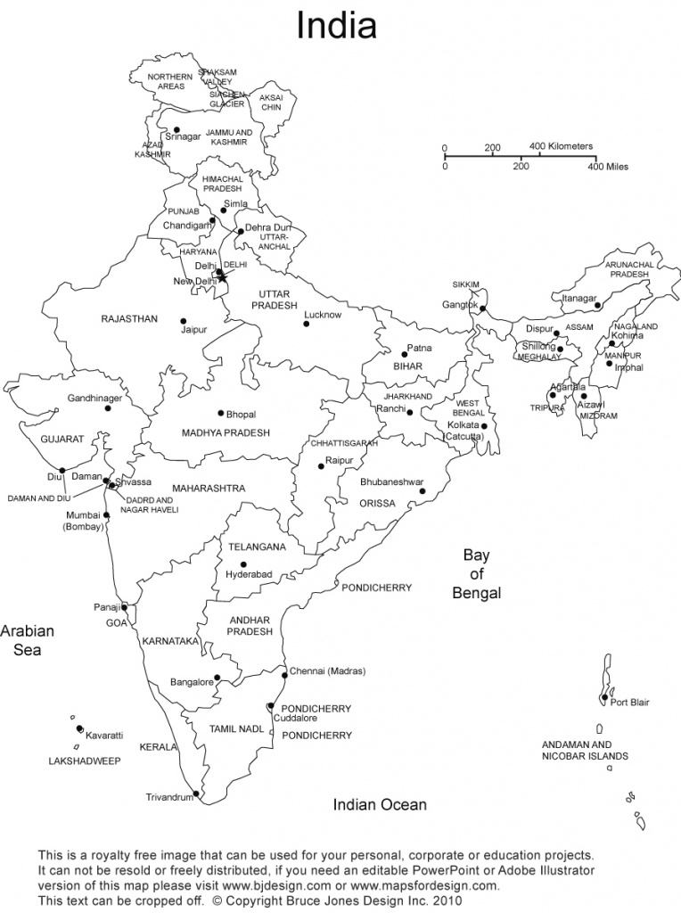 India Printable, Blank Maps, Outline Maps • Royalty Free with regard to India Blank Map With States Pdf