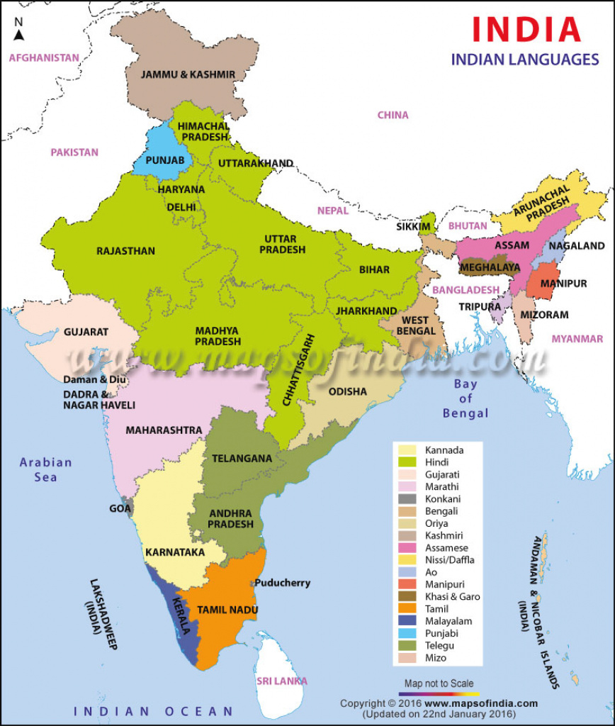 Indian Languages Map, Languages Of India in India Map With States Name In Hindi