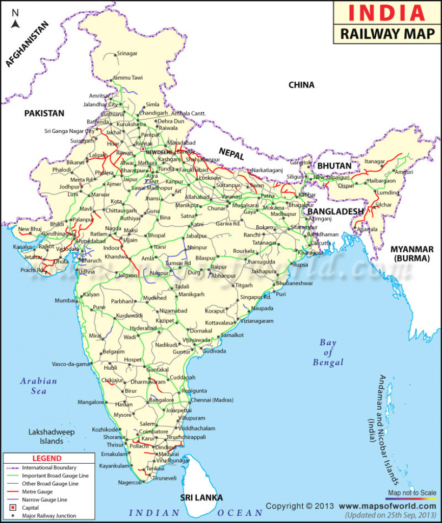 Indian Railways Map, India Rail Map in Google Map Of India With States