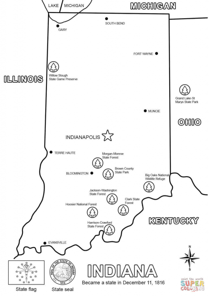 Indiana Map Coloring Page | Free Printable Coloring Pages inside Indiana State Map Printable
