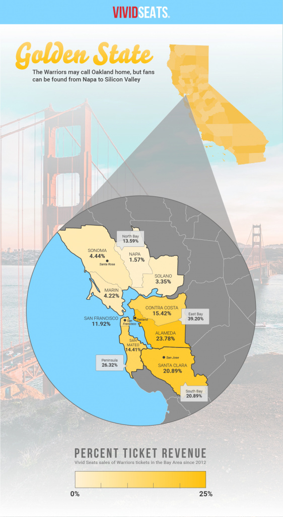 Infographic: Where Golden State Warriors Fans Live | Vivid Seats throughout Golden State Map Location