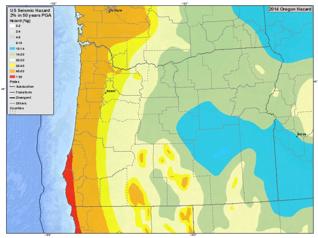 Informationregion-Oregon with regard to Usgs Earthquake Map Washington State
