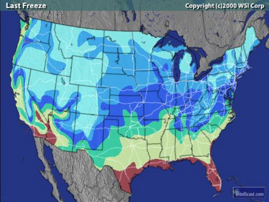 Intellicast - First & Last Freeze In United States regarding United States Radar Map