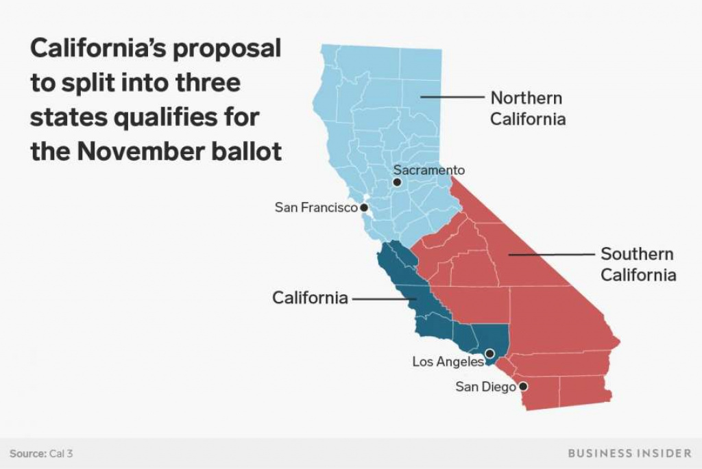 It Would Be Incredibly Difficult For California To Split Into Three in California Map With States