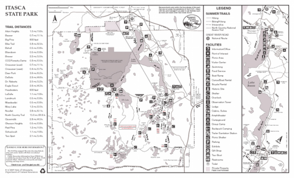 Itasca State Park Summer Map - 36750 Main Park Drive Park Rapids Mn pertaining to Itasca State Park Trail Map