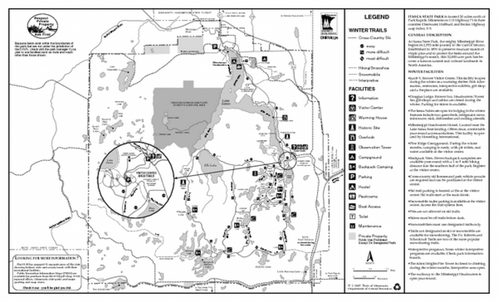 Itasca State Park Winter Map - 36750 Main Park Drive Park Rapids Mn in Itasca State Park Trail Map