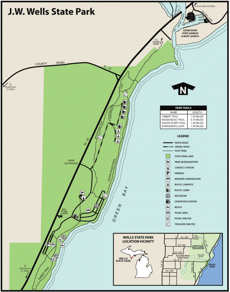 J.w. Wells State Park And Cedar River State Harbormaps & Area Guide regarding Michigan State Park Campgrounds Map
