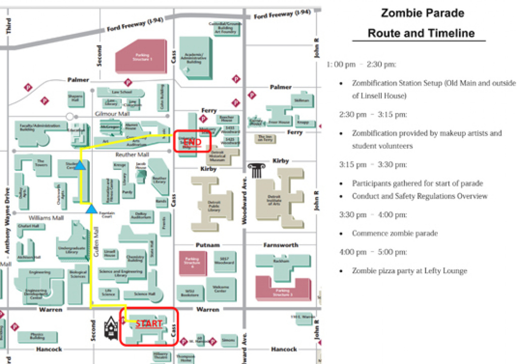 Join The Wsu Zombie Parade, Oct. 29 - Cfpca - Wayne State University regarding Wayne State University Campus Map