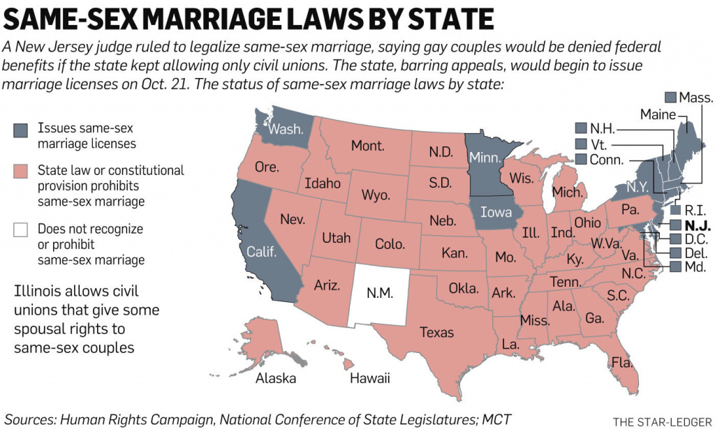 Judge Legalizes Same-Sex Marriage In New Jersey; Christie Vows To within Map Of States Legalized Gay Marriage