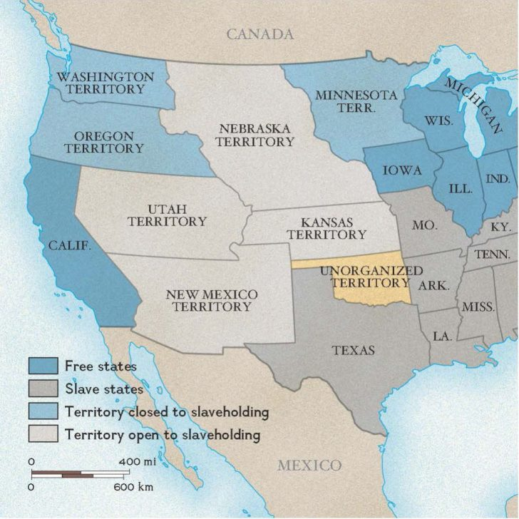 Slave States And Free States Map