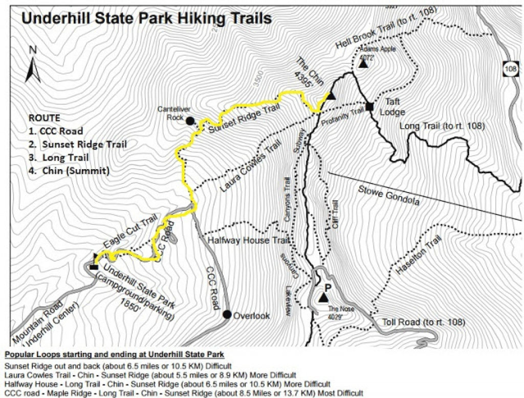 Katie Wanders : Hiking Mount Mansfield, Vermont within Underhill State Park Trail Map