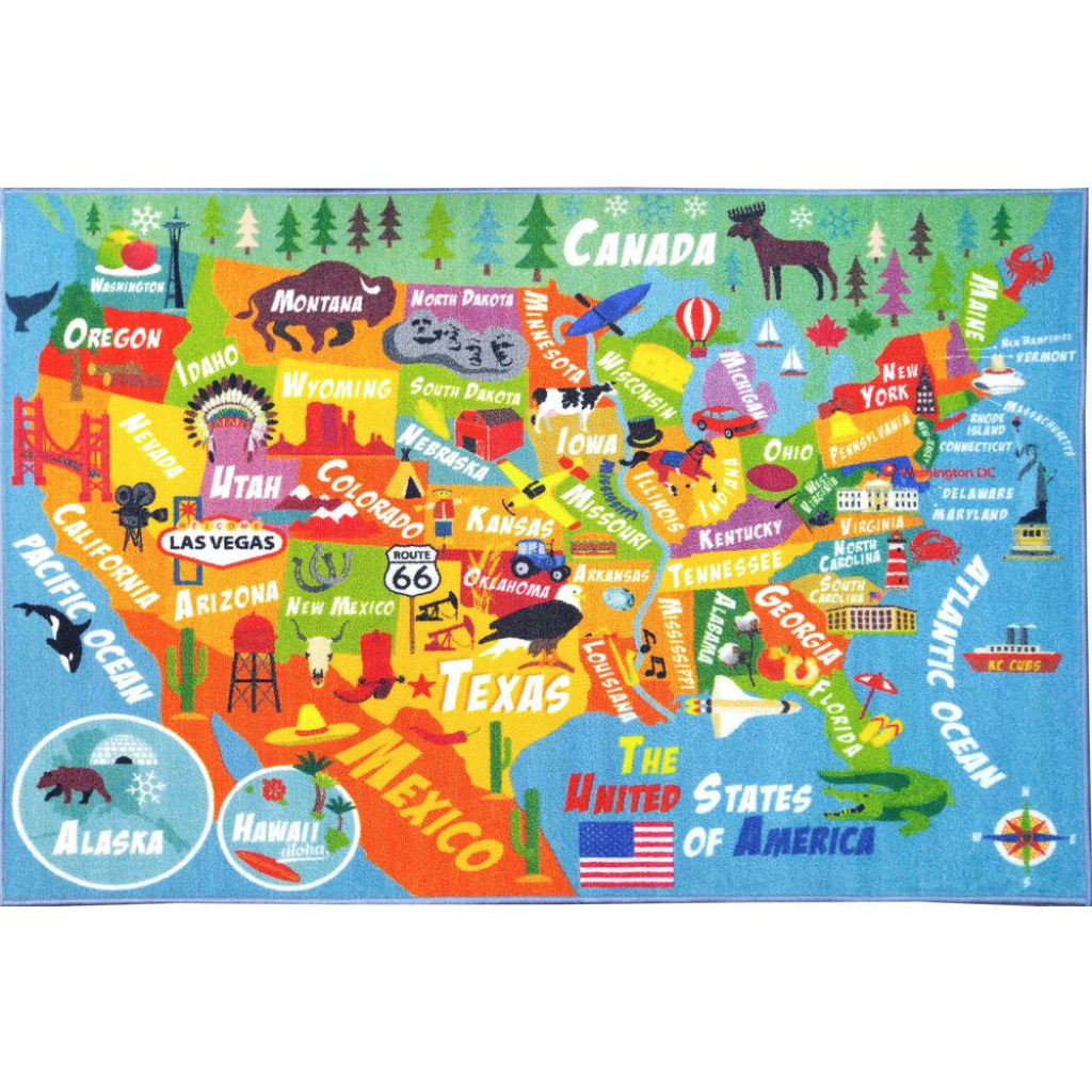 Kc Cubs Multi-Color Kids And Children Bedroom Usa United States Map inside United States Map For Kids