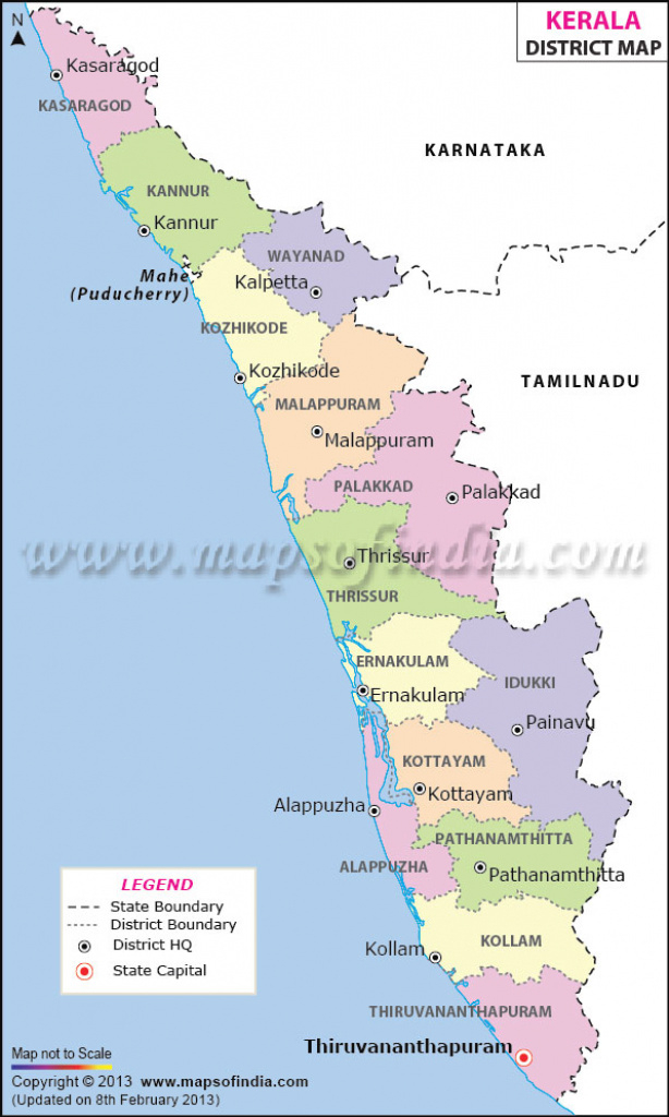Kerala District Map with Political Map Of Kerala State