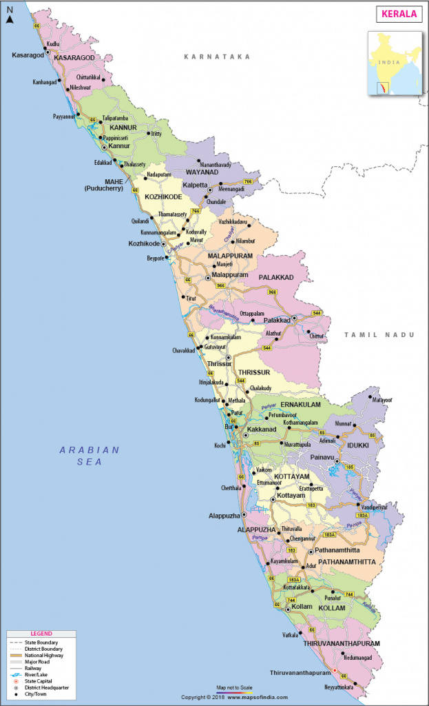 Kerala Map, State, Fact And Travel Information with regard to Political Map Of Kerala State