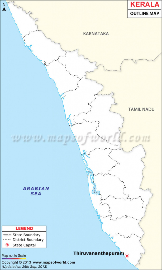 Kerala Outline Map within Political Map Of Kerala State