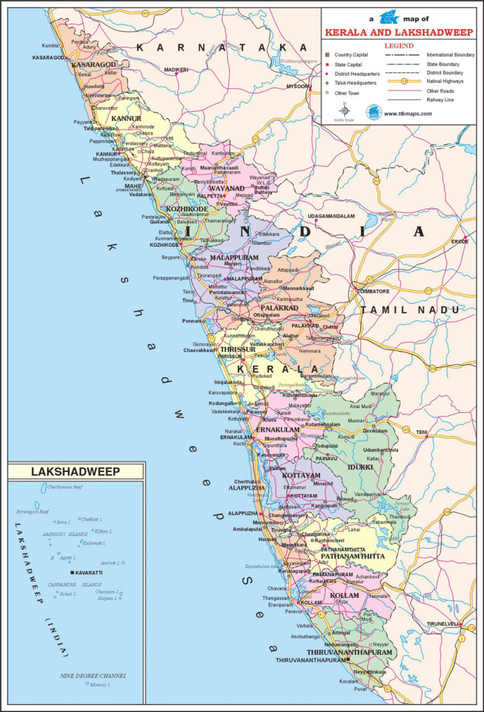 Kerala Travel Map, Kerala State Map With Districts, Cities, Towns with Political Map Of Kerala State