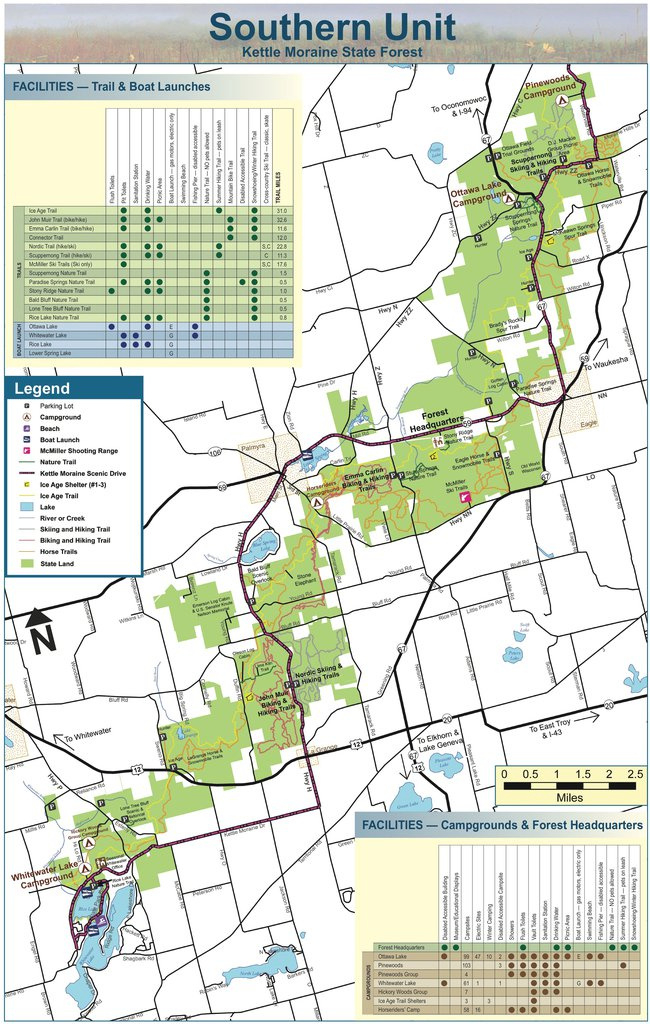 Kettle Moraine State Forest - Southern Unit - Maplets with regard to Kettle Moraine State Park Map