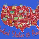 Kid's Map Of The United States And State Landmarks   Maps Throughout United States Product Map