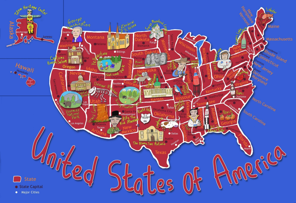 Kid's Map Of The United States And State Landmarks - Maps throughout United States Product Map