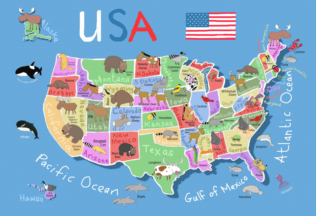 Kid's Map Of United States - Maps inside United States Map For Kids