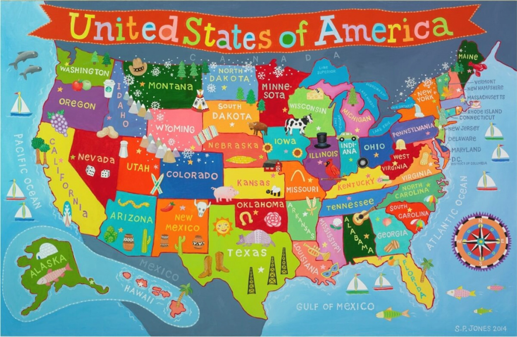 Kid's United States Wall Map inside United States Map For Kids